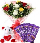 send Mix Roses Bouquet N Chocolate TeddyGifts delivery