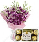 send 6 orchids with a box of 16 scrumptious Ferrero Rocher Chocolates delivery