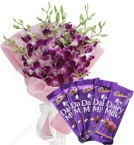 send 6 orchids with 5 Cadbury Dairy Milk Chocolate delivery