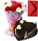 send Mix Carnation Bouquet  Eggless 1kg Heart Shaped Chocolate Cake with Greeting Card delivery