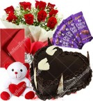 send Red Roses Bouquet Eggless 1kg Heart Shaped Chocolate Cake chocolate teddy with Greeting Card delivery