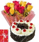 send half kg eggless black forest cake and bunch of 10 yellow roses  delivery