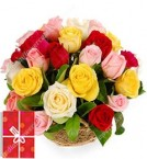 send 15 Mix  Roses Basket Gifts delivery