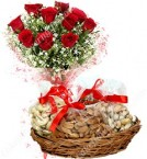 send Gift box of 500 Gms Dry Fruits n Roses Bouquet delivery