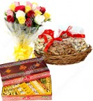 send Dry Fruits n Sweets n Roses Bouquet Combo Gift delivery