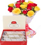 send Gift of 500gms Barfi Sweet Box n Red Yellow Roses delivery