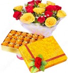 send Gift of 500gms Ghee Laddu Sweet Box n Red Yellow Roses delivery