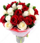 send 20  Red n White Roses Flower Bouquet delivery