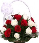 send Red n White Flower Basket  delivery