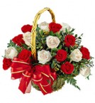 send Gift of 20 White Red Roses Basket delivery