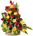 send Designer Red n Yellow Flower Bouquet delivery
