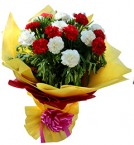 send Red n White Carnations Flower Bouquet delivery