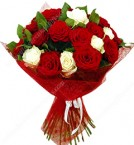 send White n Red Roses Bouquet delivery