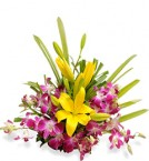 send Purple Orchids with Yellow lilies Arrangement delivery