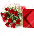 send Little Red Roses Bunch with Greeting Card delivery