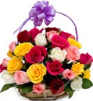 send Designer Basket of 20 Mix Roses  delivery
