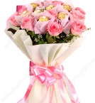 send Pink Roses n Ferrero Rocher Chocolates Bouquet delivery