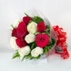 send Soft and Fierce Red and White Roses delivery