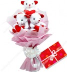 send Cute Bouquet Of 3 Teddy Bear delivery