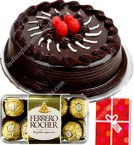 send 500gms Chocolate cake 16pcs ferrero rocher-chocolate n card delivery