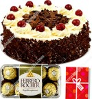 send 500gms black forest cake 16pcs ferrero rocher-chocolate n card delivery