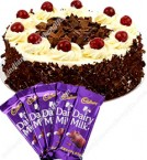 send Maharaja Black Forest Cake Half Kg  n dairy milk chocolates Combo Gift delivery