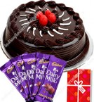 send Dark Chocolate Cake Half Kg n dairy milk chocolates Combo Gift delivery