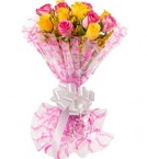 send Yellow and Pink Roses delivery