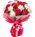 send Red n White Carnations Bouquet delivery