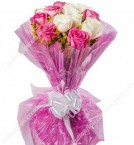 send Pink White Roses Bbouquet delivery