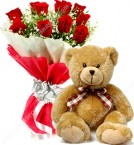 send birthday spical red roses with teddy bear delivery