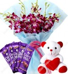 send Purple Orchid Bouquet Dary Milk Chocolate Teddy Bear delivery