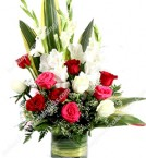send Gladiolus With Roses In A Glass Vase delivery