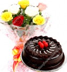 send half kg eggless chocolate cake with roses bunch starter combo delivery