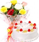 send half kg eggless pineapple cake with roses bunch starter combo delivery