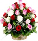 send 30 Colorful Mix Roses Basket delivery