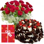 send black forest cake and 15 mix roses  delivery
