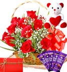 send Red Roses Basket Chocolate Teddy delivery