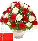 send 20 Red White Roses Basket n Greeting Card  delivery