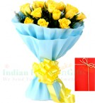 send 12 Yellow Roses Bouquet n Greeting Card delivery