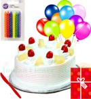 send Yummy Half Kg Eggless Pineapple Cake N Card Balloons Gifts delivery