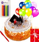 send Yummy Half Kg Eggless Butterscotch Cake N Greeting Card Balloons Candle Gifts  delivery