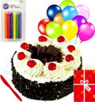 send Yummy Half Kg Eggless Black Forest Cake N Greeting Card Balloons Candle Gifts  delivery