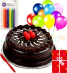 send Yummy Half Kg Eggless Chocolate Cake N Greeting Card Balloons Candle Gifts  delivery