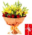 send Red Roses Lilies Bouquet delivery