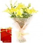 send Yellow Lilies Bouquet delivery