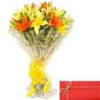 send Bunch of Mix lilies with Card delivery