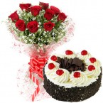 send 1Kg Black Forest cake n 10 red Roses flower combo delivery