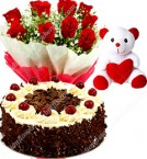 send Half Kg Black Forest Cake Red Roses Bouquet and a Teddy Bear delivery