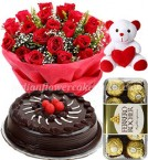 send 1kg 500gms chocolate cake rose bouquet ferrero rochher chocolate and teddy bear delivery